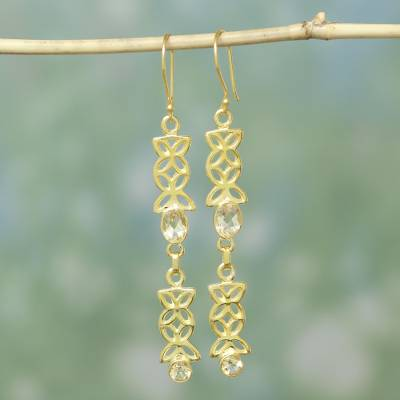Gold vermeil citrine dangle earrings, 'Sunny Ribbons' - Gold Vermeil and Citrine Earrings from India Jewelry