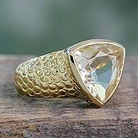 Gold vermeil citrine ring, 'Pyramid' - Handcrafted Modern Vermeil and Citrine Ring