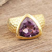 Gold vermeil amethyst ring, 'Pyramid' - Gold vermeil amethyst ring