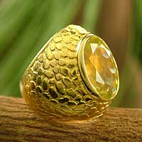 Gold vermeil citrine ring, 'Solar Light' - Gold vermeil citrine ring