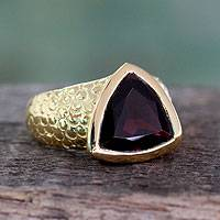 Gold vermeil garnet ring, 'Pyramid' - Indian Hand Crafted Gold Vermeil Ring with Garnet