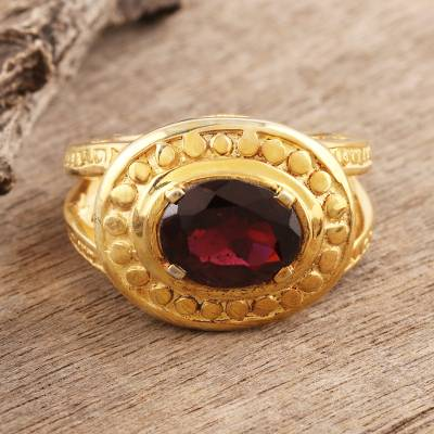 Gold vermeil garnet ring, 'Mughal Crown' - Gold Vermeil Garnet Cocktail Ring
