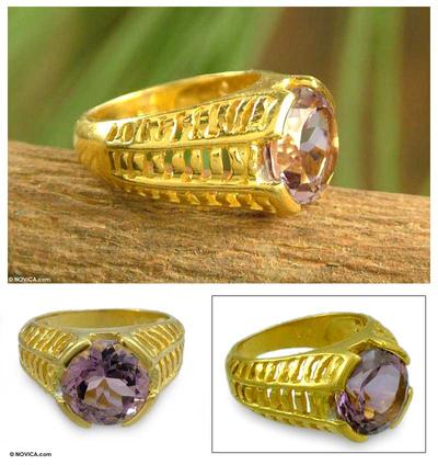 Gold vermeil amethyst ring, 'Regal' - Gold vermeil amethyst ring