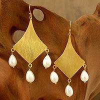 Featured review for Gold vermeil pearl dangle earrings, Seduction