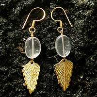 Gold vermeil rose quartz dangle earrings, 'Mystic Dew' - Gold vermeil rose quartz dangle earrings