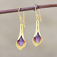 Gold vermeil amethyst flower earrings, 'Secret Lilies' - Gold vermeil amethyst flower earrings