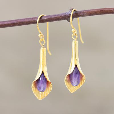 Gold vermeil amethyst flower earrings, 'Secret Lilies' - Gold vermeil amethyst flower earrings
