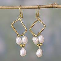 Gold vermeil pearl dangle earrings, 'Mystic Quadrants' - Indian Bridal Jewelry Vermeil and Pearl Earrings