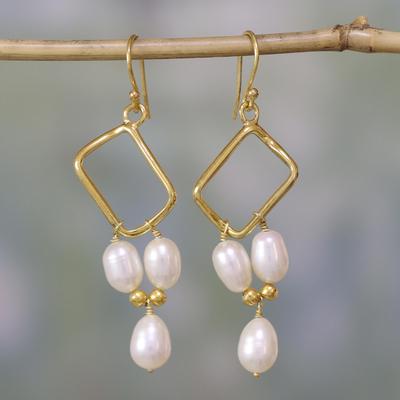 Gold vermeil pearl dangle earrings, 'Mystic Quadrants' - Indian Bridal jewellery Vermeil and Pearl Earrings