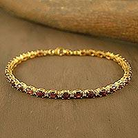 Gold vermeil garnet tennis bracelet, 'Golden Twilight' - Gold Plated with Garnet Bracelet from India