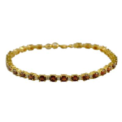 Gold Plated with Garnet Bracelet from India