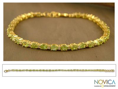 Gold vermeil peridot tennis bracelet, 'Golden Twilight' - Gold vermeil peridot tennis bracelet