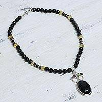Onyx pendant necklace, 'Midnight Princess' - Onyx pendant necklace