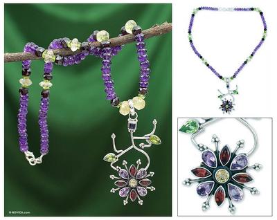 Amethyst and garnet pendant necklace, 'Festival' - Amethyst and garnet pendant necklace