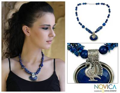 Lapis lazuli pendant necklace, 'Proud Peacock' - Lapis Lazuli Pendant Necklace