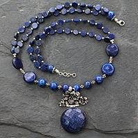 Lapis lazuli pendant necklace, 'Midnight Lily' - Lapis Lazuli Necklace Cast with Sterling Silver