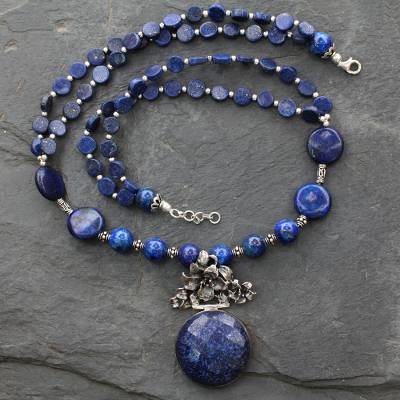 pendant necklace lazuli lapis universe blue silver p hand made and sterling