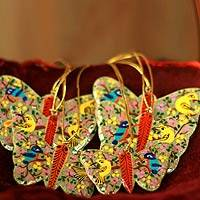 Wood ornaments, 'Gleeful Butterflies' (set of 6)