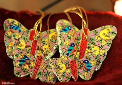 Wood ornaments, 'Gleeful Butterflies' (set of 6) - Wood ornaments (Set of 6)
