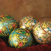 Ornaments, 'Turquoise Garden Fantasy' (set of 4) - Fair Trade Christmas Papier Mache Bird Ornaments (Set of 4)