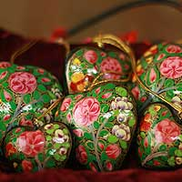 Ornaments, 'Blossoming Hearts' (set of 6) - Ornaments (Set of 6)