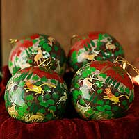 Ornaments, 'Forest Fantasy' (set of 4)