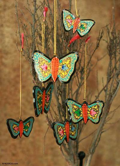 Wood ornaments, 'Blossoming Butterflies' (set of 6) - Wood ornaments (Set of 6)