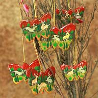 Wood ornaments, 'Forest Butterflies' (set of 6) - Set of Six Handcrafted Ornaments from India