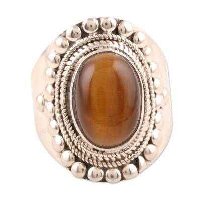 Tiger's eye solitaire ring, 'Dancer' - Tiger's eye solitaire ring