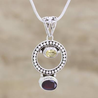 Garnet and citrine choker, 'Circle of Joy' - Garnet and citrine choker