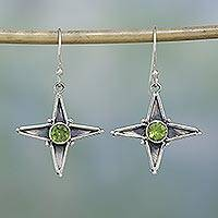 Peridot dangle earrings, 'Tangy Stars' - Peridot dangle earrings