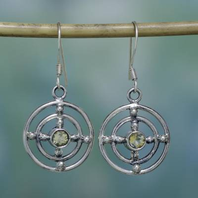 Citrine dangle earrings, Concentric Galaxy