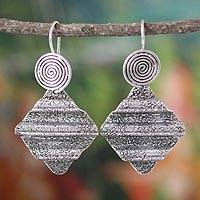Sterling silver dangle earrings, 'Ripples' - Sterling silver dangle earrings