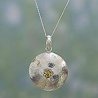 Citrine pendant necklace, 'Intensity' - Hand Made Citrine and Silver Pendant Necklace