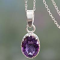 Amethyst pendant necklace, 'Wise Hearts' - Amethyst pendant necklace