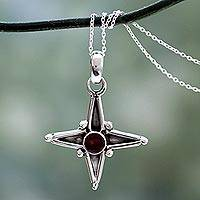 Garnet pendant necklace, 'Star of Love' - Garnet and Silver Pendant Necklace