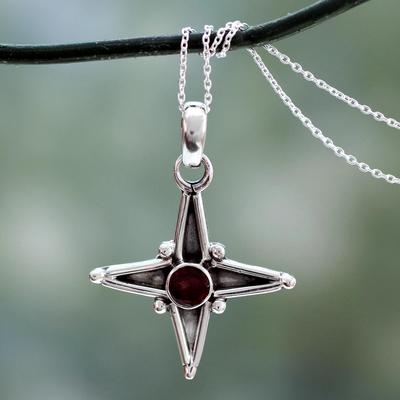 Garnet pendant necklace, 'Star of Love' - Garnet and Silver Pendant Necklace