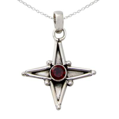 Garnet and Silver Pendant Necklace