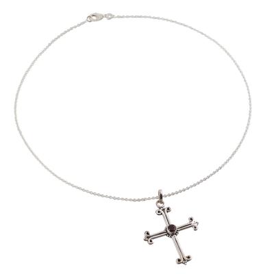 Garnet cross necklace, 'Scarlet Promise' - Garnet cross necklace