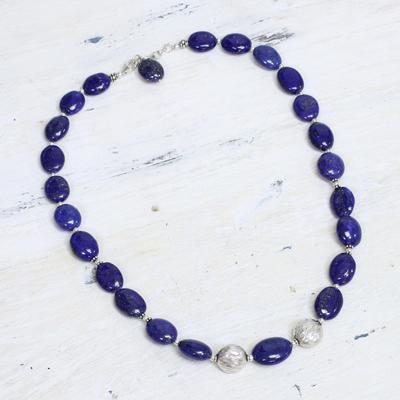 Lapis lazuli strand necklace, 'Forever Love' - Lapis lazuli strand necklace