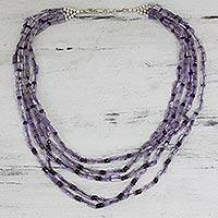 Amethyst strand necklace, 'India Grace' - Amethyst strand necklace