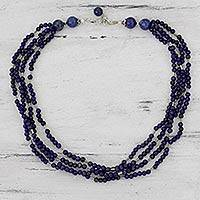 Lapis lazuli strand necklace, 'True Bliss'