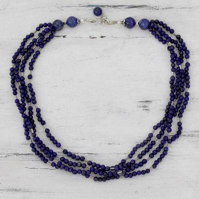 Lapis lazuli strand necklace, 'True Bliss' - Lapis lazuli strand necklace