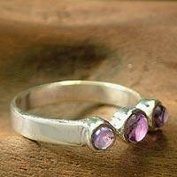 Amethyst cluster ring, 'Enchantment' - Silver and Amethyst Ring