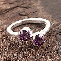 Amethyst cocktail ring, 'Lovers' - Amethyst cocktail ring
