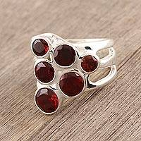 Garnet cluster ring, 'Vineyard' - Sterling Silver and Garnet Ring India Jewelry