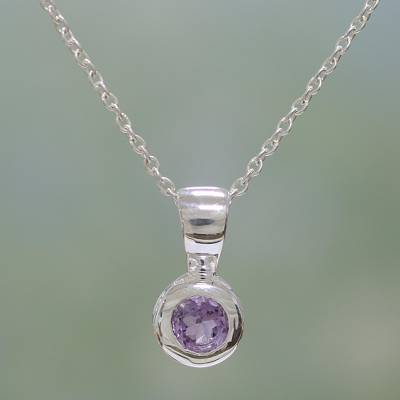Amethyst pendant necklace, 'Solitaire' - Sterling Silver and Amethyst Necklace
