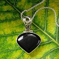 Onyx pendant necklace, 'Enigma' - Fair Trade Sterling Silver Onyx Pendant Necklace