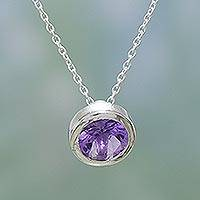 Amethyst pendant necklace, 'Halo' - Sterling Silver and Amethyst Necklace Handmade in India