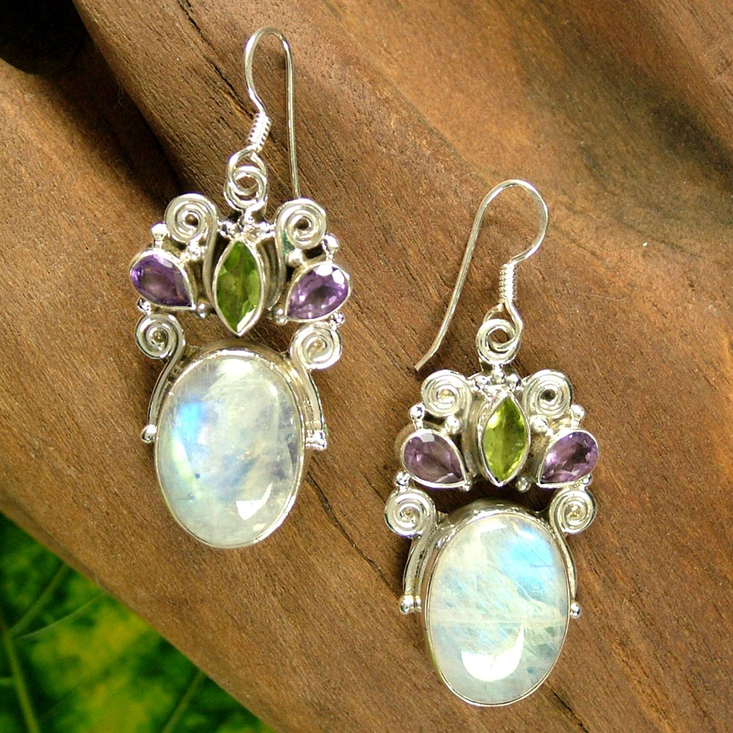 Unique Rainbow Moonstone Earrings From India Moon Drops
